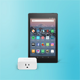 Image of an Amazon Fire HD 8 Tablet with an Amazon Smart Plug