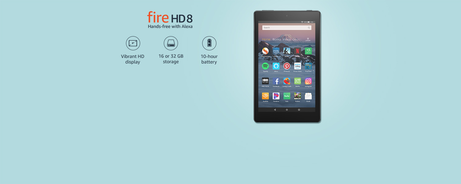 Fire HD 8 | Hands-free with Alexa | Vibrant HD display | 16 or 32 GB storage | 10-hour battery