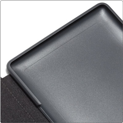 Secures Kindle without hinges or straps