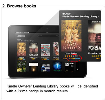 Kindle Owners' Lending Library books will be identified with a Prime badge in search results.