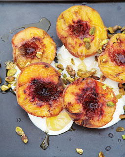 Grilled Peaches and Apricots with Yogurt, Honey, and Pistachios