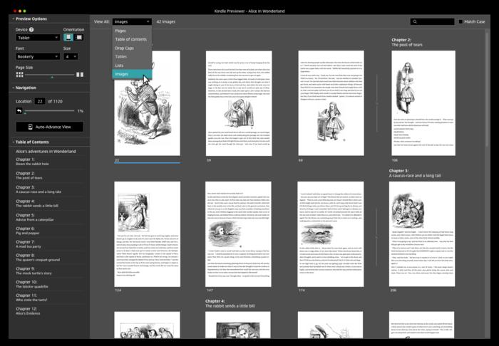 Kindle Previewer Element Navigation