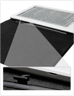 Custom hinges lock Kindle DX securely in place