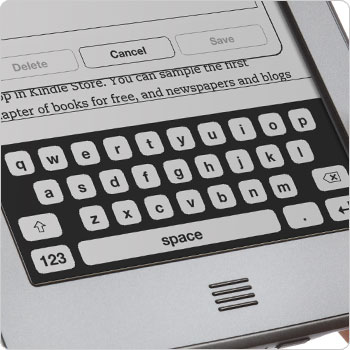 Kindle Touch e-reader showing on-screen keyboard