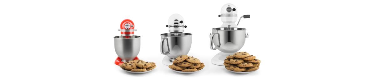 Mini Artisan and 2 bigger sizes of KitchenAid mixer show off the smaller sized of the mini.