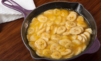 Skillet Shown in Cassis with Banana Flambe