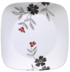 The circular impression in the center of the plate makes it easy to serve up dinner while allowing your guests to enjoy the fashion-forward design.  sc 1 st  Amazon.com & Amazon.com | Corelle Square 16-Piece Dinnerware Set Mandarin Flower ...