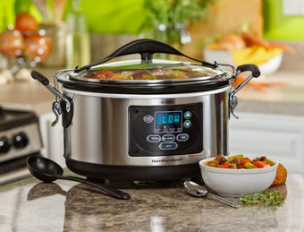 Hamilton Beach Set & Forget 6 Quart Programmable Slow Cooker with Spoon/Lid - 33967