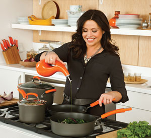 Rachael Ray Cooking with her Hard-Anodized II Nonstick Dishwasher Safe 10-Piece Cookware Set