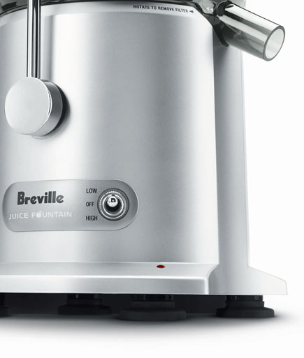 The Breville JE98XL's dual speeds  Breville JE98XL Juice Fountain Plus 850-Watt Juice Extractor JE98XL OverloadLight 435