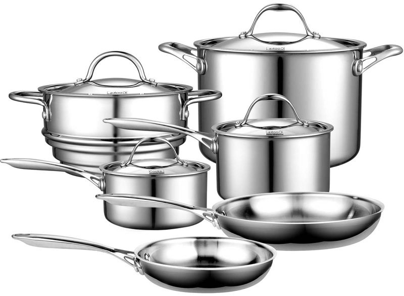 high quality stainless steel ten piece pc cook cooking cookware pot pan lid set ebay. Black Bedroom Furniture Sets. Home Design Ideas
