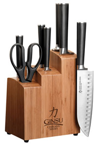 Ginsu 7108 Chikara 8-Piece Stainless Steel Knife Set with Bamboo Block