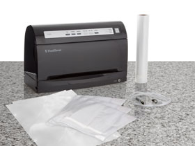 FoodSaver V3460 includes 3 quart-size bags, 2 gallon-size bags, and a roll of bag material