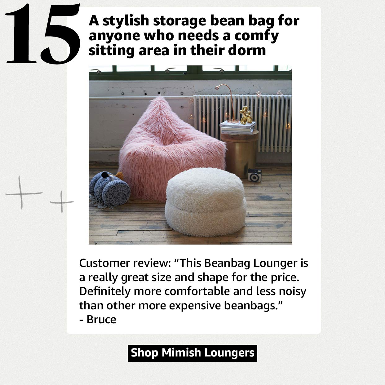 A stylish storage bean bag for anyone who need a comfy sitting area in their dorm