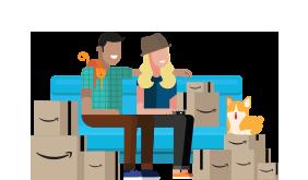 Personas ilustradas sentadas en el sofá