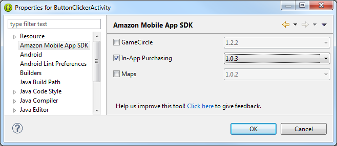 Screenshot of Amazon Mobile App SDK Eclipse Plugin