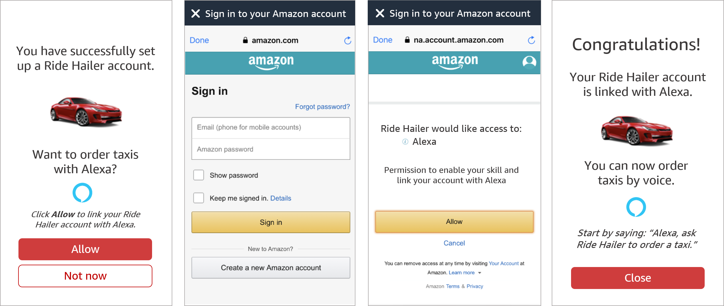 Alexa app-to-app account linking using Login With Amazon