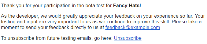 Email Requesting Feedback From Beta Testers
