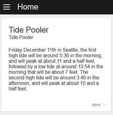 Tide Poolerのホームカードの例