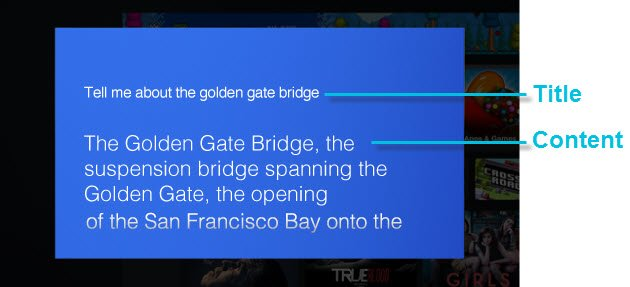 Simple card on the Fire TV displaying plain text