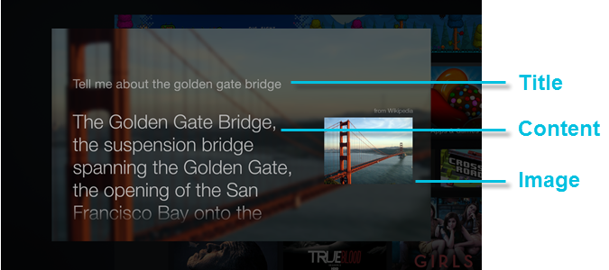 Standard card on the Fire TV displaying text and an image