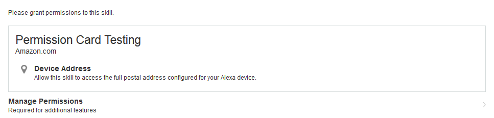 Permissions card in the Alexa companion app