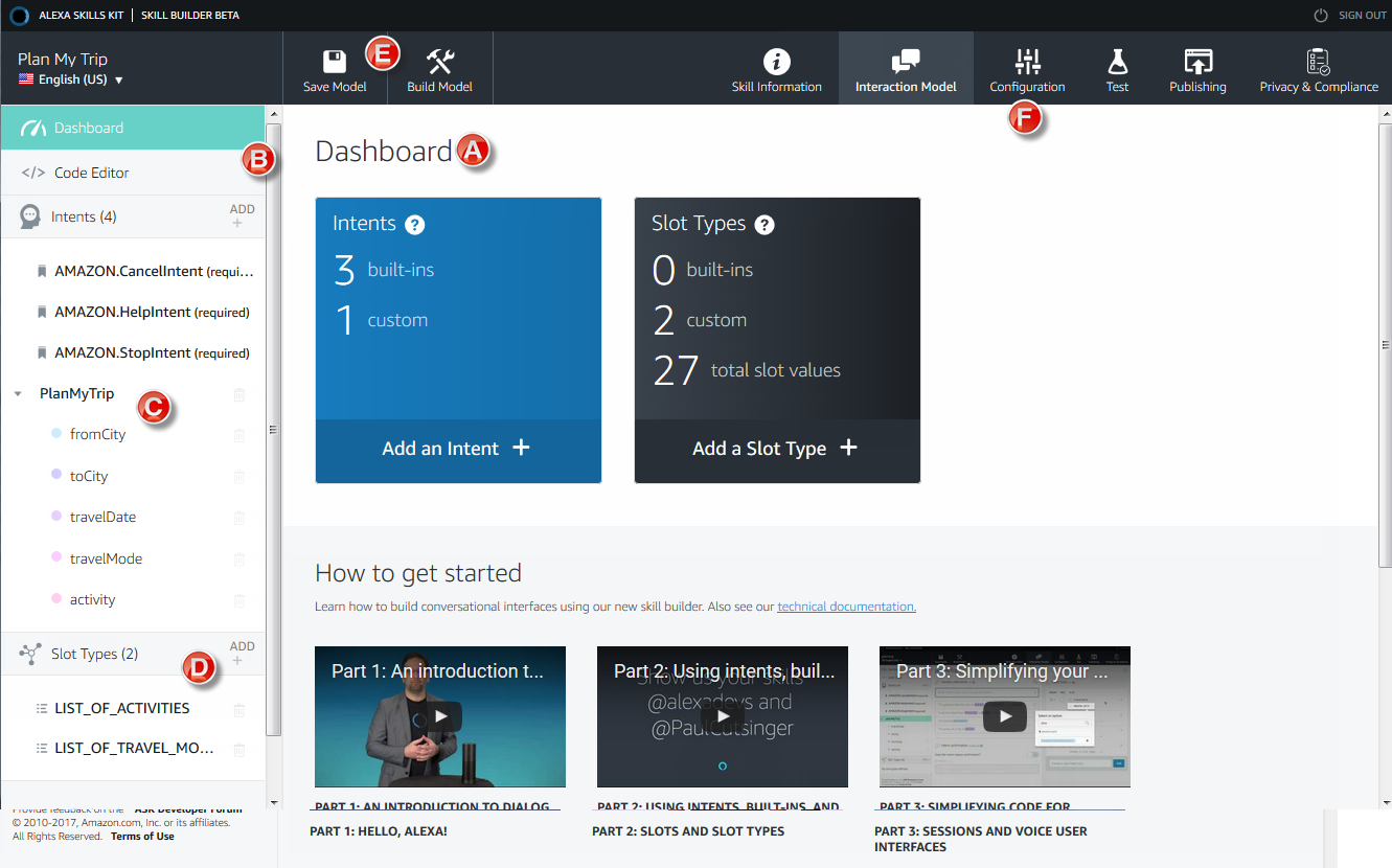 The skill builder (beta) user interface