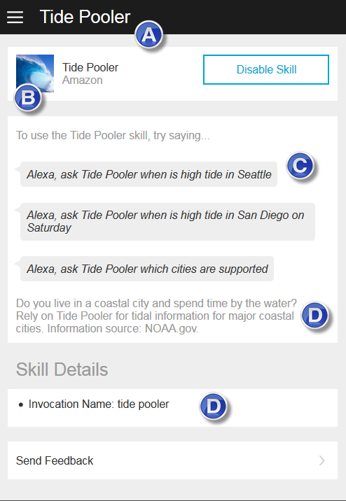 Detail Card for a Skill in the Alexa App