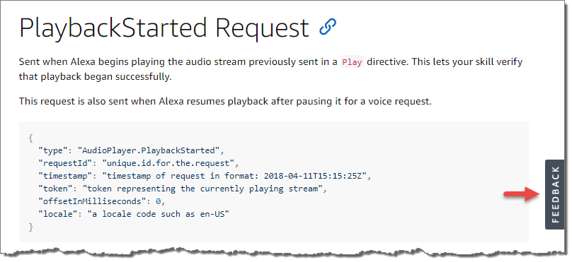 Screenshot of the feedback button within the Alexa Skills Kit technical documentation.