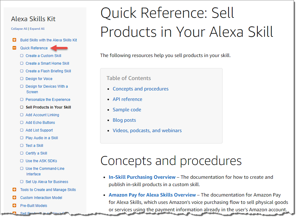 Screenshot of a quick reference page within the Alexa Skills Kit technical documentation.