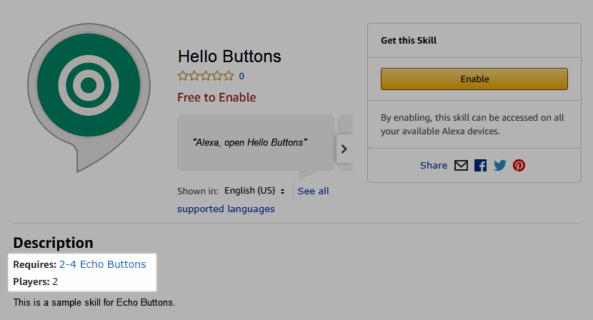 Echo Button Skill in Alexa Skill Store