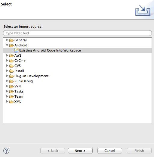 Select import source window