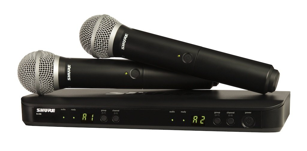 shure blx288 pg58 dual channel handheld wireless system with 2 pg58 vocal. Black Bedroom Furniture Sets. Home Design Ideas