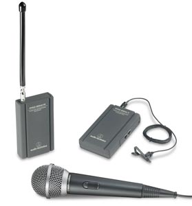 Audio Technica TwinMic VHF Handheld Lavalier Wireless System - with Receiver and Transmitter
