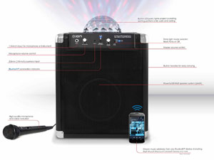 ION Party Rocker portable Bluetooth speaker system with built-in light