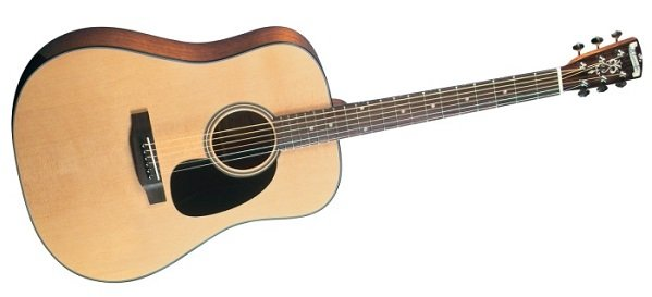 Profile view of the Blueridge BR-40 Contemporary Dreadnaught acoustic guitar.