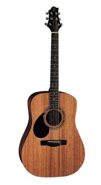 Profile view of the Gold Rush D1 Left Hand acoustic guitar.