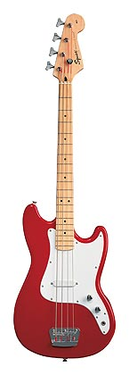 "Squier Bronco Bass""> </div> <h4>Specifications</h4> <ul> <li><strong>Body</strong> Agathis <li><strong>Neck</strong> <ul><li>Maple, C-Shape, <li>(Polyurethane Finish)</ul> <li><strong>Fingerboard</strong> Maple, 9.5"" Radius (241 mm) <li><strong>No. of Frets</strong> 19 Medium Jumbo <li><strong>Pickups</strong> 1 Special Design Single-Coil Pickup <li><strong>Controls</strong> Volume, Tone <li><strong>Pickup Switching</strong> None <li><strong>Bridge</strong> 2-Saddle Chrome <li><strong>Machine Heads</strong> Standard Covered Mini-Tuners <li><strong>Hardware</strong> Chrome <li><strong>Pickguard</strong> 3-Ply White <li><strong>Scale Length</strong> 30"" (762 mm) <li><strong>Width at Nut</strong> 1.50"" (38 mm) <li><strong>Unique Features</strong> Short Scale Length, Dot Position Inlays, Knurled Chrome Dome Control Knobs <li><strong>Strings</strong> Fender Super 5250XL, P/N 073-5250-002, (.040, .060, .075, .095) <li><strong>Accessories</strong> None </ul> </div></span></div><br /><br /><div style="