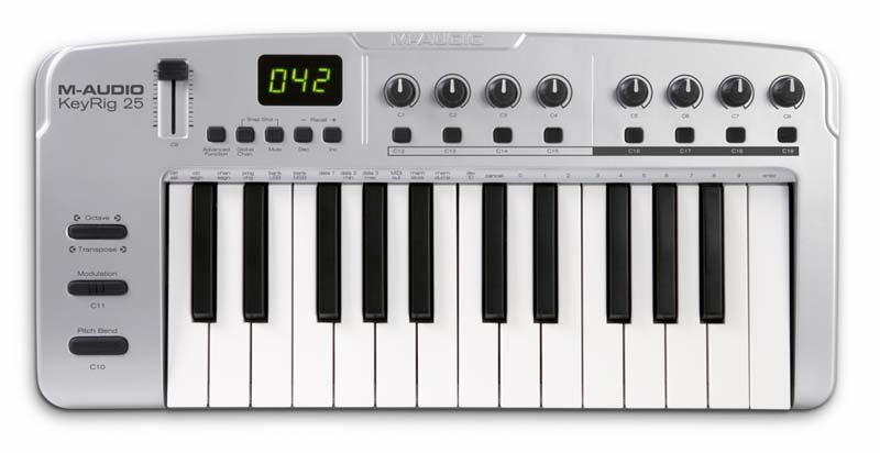 Ultra-slim 25-note velocity-sensitive synth-action keyboard. Click to