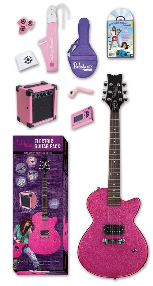Daisy Rock Debutante Rock Candy Princess Atomic Pink Electric Guitar Pack