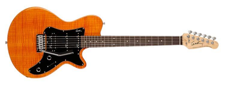 Amazoncom Godin Sd 22 Electric Guitar Amber Flame Leaftop Rn