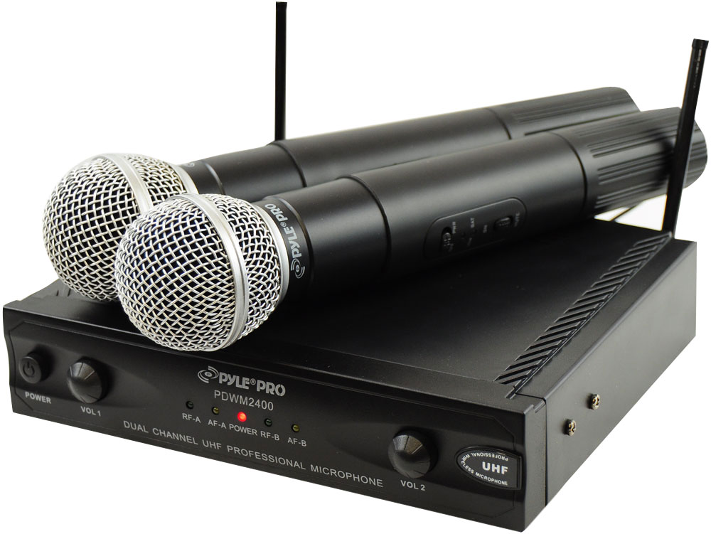 pyle pro pdwm2400 wireless dual channel uhf microphone system with 2 microphones. Black Bedroom Furniture Sets. Home Design Ideas
