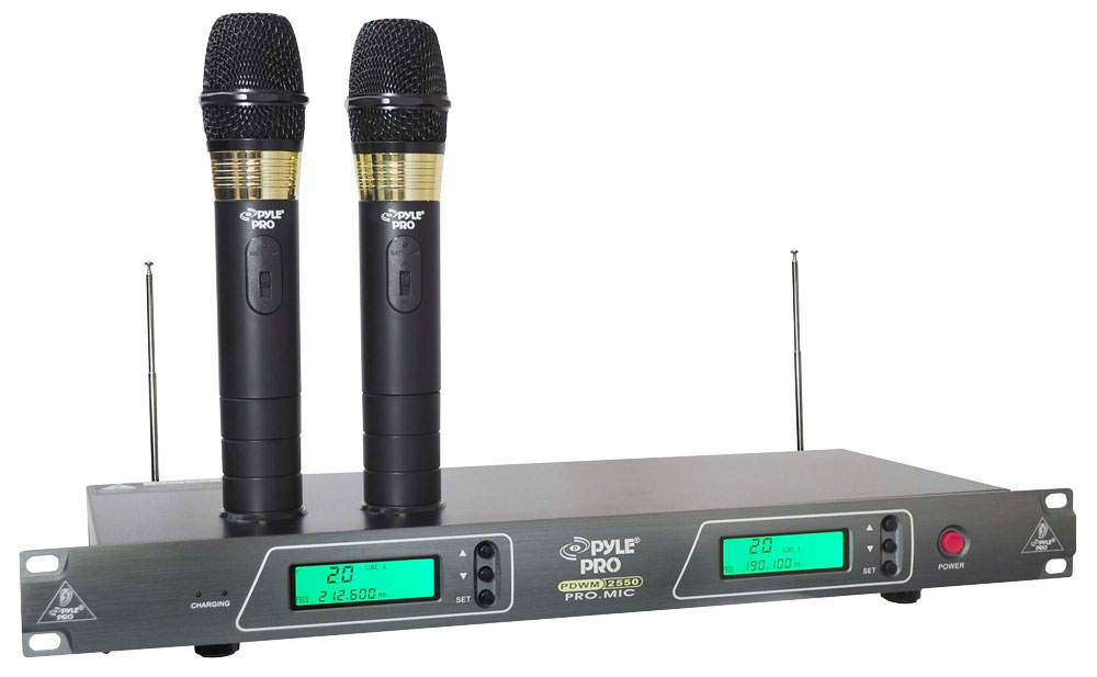 pyle pro pdwm2550 19 39 39 rack mount dual vhf wireless rechargeable handheld microphone. Black Bedroom Furniture Sets. Home Design Ideas