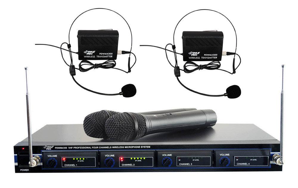 pyle 4 channel vhf wireless microphone system rack mountable base 2 handheld mic. Black Bedroom Furniture Sets. Home Design Ideas
