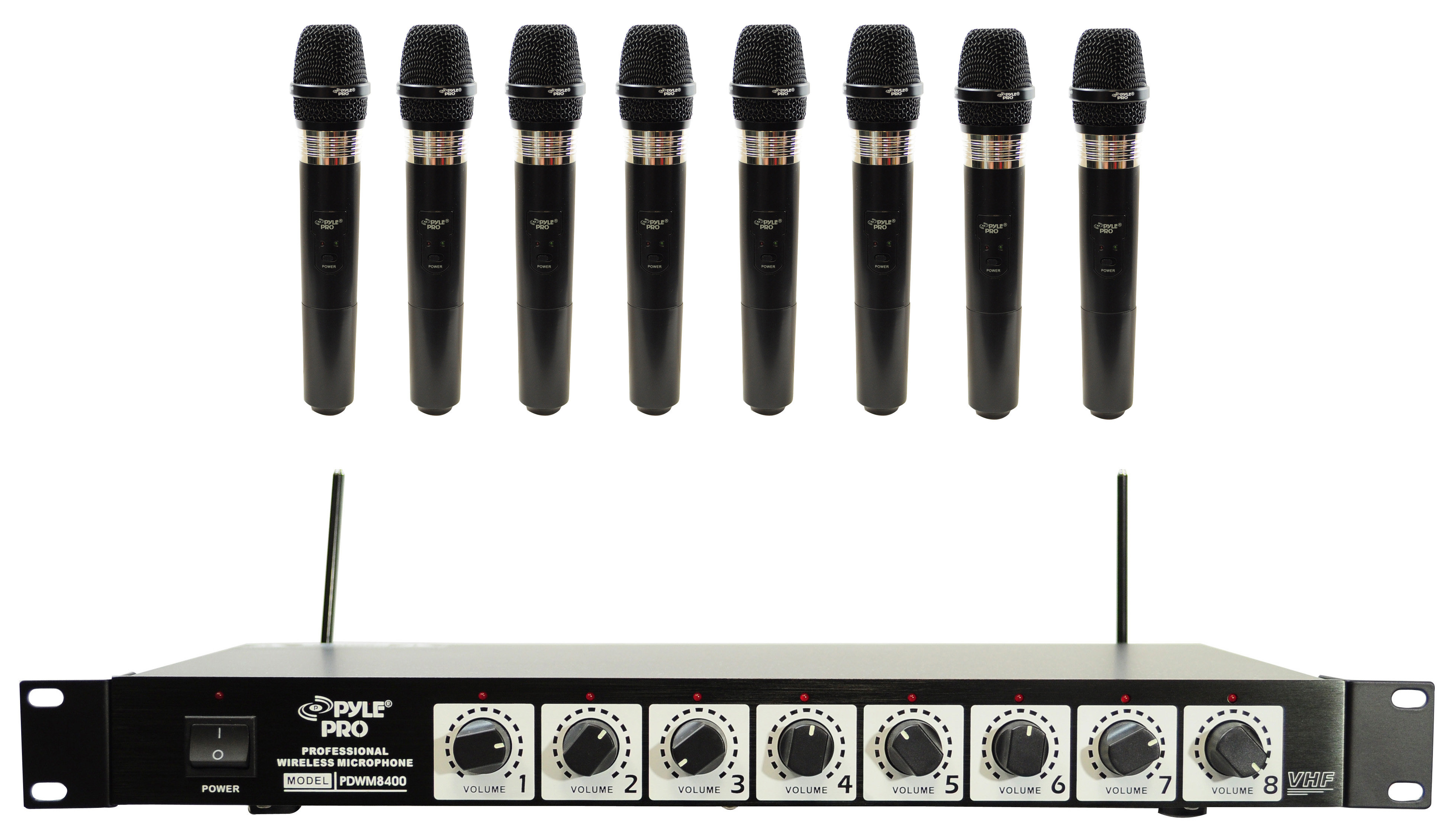pyle pro pdwm8400 8 mic professional handheld vhf wireless microphone system. Black Bedroom Furniture Sets. Home Design Ideas