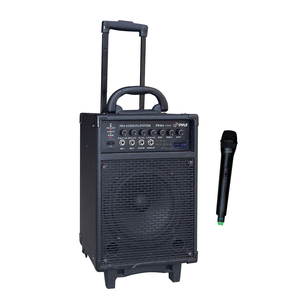 pyle pwma430u wireless rechargeable portable pa system usb sd fm radio handheld. Black Bedroom Furniture Sets. Home Design Ideas