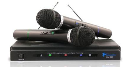 technical pro wm 200 wireless microphone system with 2 mics black musical instruments. Black Bedroom Furniture Sets. Home Design Ideas