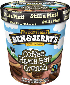 coffee heath bar crunch coffee ice cream with chunks of heath bars