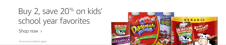 Buy 2 save 20% on kid's back-to-school favorites