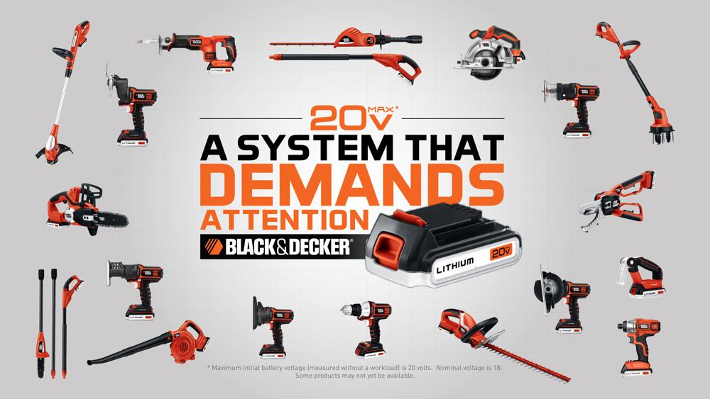 black and decker tools. black \u0026 decker\u0027s 20-volt lithium system (view larger). and decker tools x